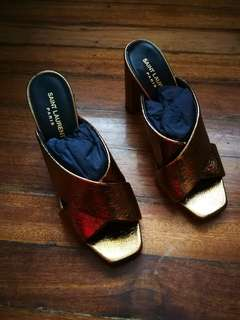 Brand New YSL LouLou Cracked Metallic Leather Gold Shoes