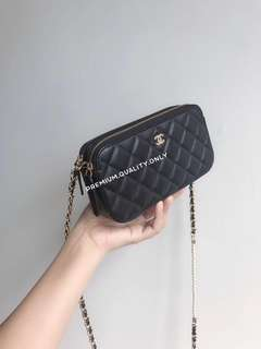 Chanel Clutch with Pearl Chain- black
