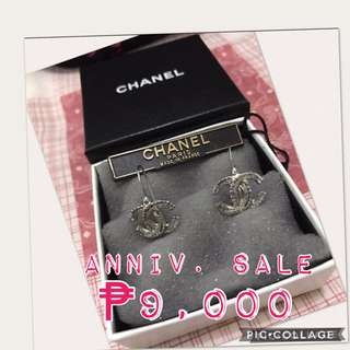Authentic Chanel Vintage Silver CC Logo Dangling Pierce Earring (OOA)
