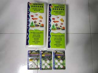 Brand New Weekend Fish Food blocks (3pkts)and BN Filter Wool (2pks) and used Air Pump