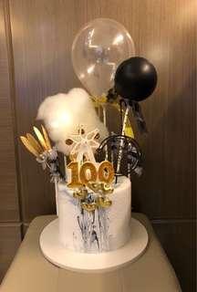 仿真 蛋糕 連裝飾品 BB 百日宴 生日派對