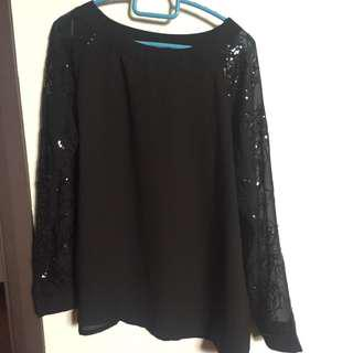 Tops with floral sequin sleeves