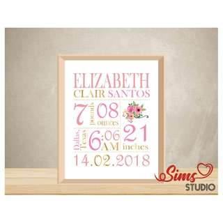 🚚 Personalized Birth Stats Wall Art, New Born Baby Boy, Birth Announcement Printable, Baby Full Moon Celebration Printable, Baby Shower Party
