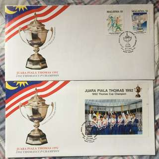 First Day Cover Juara Piala Thomas 1992