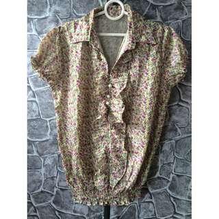 floral purple blouse