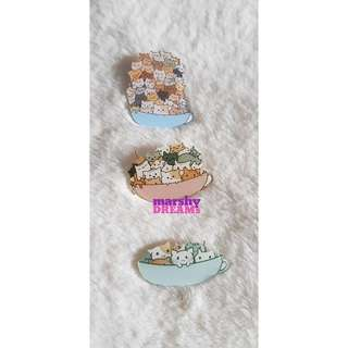 Cats in a Cup Brooch
