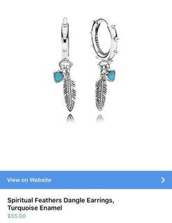 Pandora Spritual Feathers Dangle Earrings