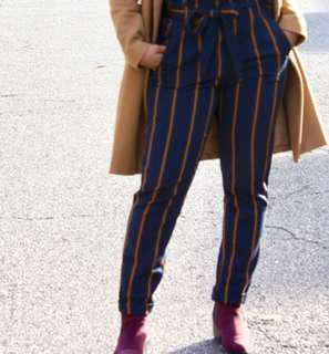 zara brown and blue striped pants