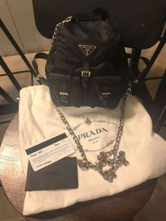 98%new 罕有款Prada mini Backpack with chain 迷李斜咩backpack