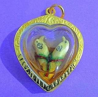 Lp Sompong Twin salika Birds in herbal oil amulet made in year 2014