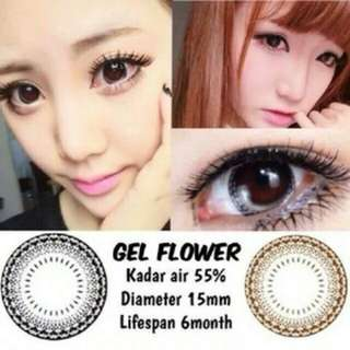 Softlens gel flower sepasang khusus mata normal / plano / contact lens