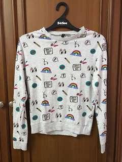 Cute Doodle-Design Gray Sweater