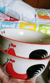 Couple bowls (with chopsticks slot)