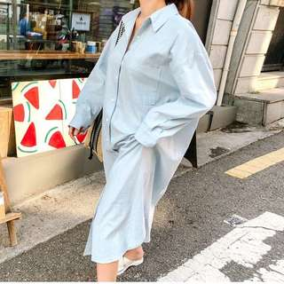 Minimei追加款✪韓系韓版百搭休閒中長款襯衫款寬鬆ins顯瘦時尚連衣裙