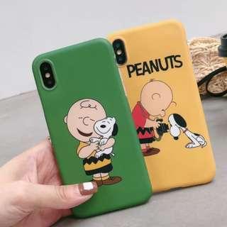 手機殼IPhone6/7/8/plus/X : 卡通查理史努比全包邊磨砂軟殼