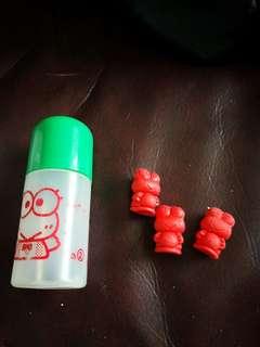 Keroppi 青蛙仔日本絕版膠樽仔+擦膠公仔筆套3個