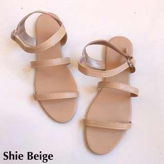 Flat Sandals in Beige