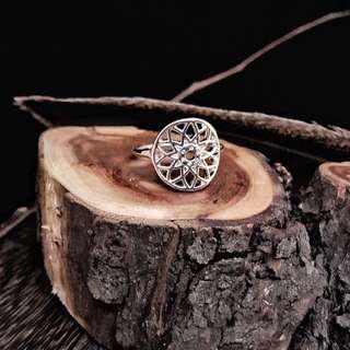 🚚 🇺🇸Sahasrara Chakra Ring 頂輪神聖幾何脈輪銀戒指