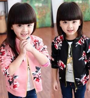 Floral Kids Coat Baby Girls Outerwear Windbreak Korean Style Long Sleeve Jacket
