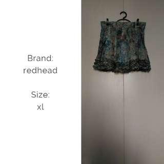Redhead floral skirt