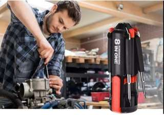 Screw driver 8 in 1 with led flashlight