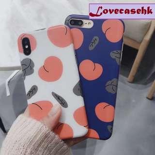 手機殼IPhone6/7/8/plus/X : 夏日水蜜桃全包邊磨砂軟殼