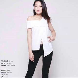 One Shoulder White Top