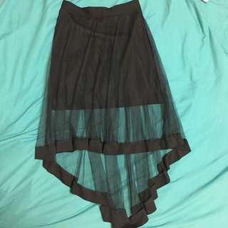 🚚 黑色紗裙  前短後長