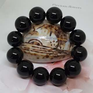 16MM/18MM Natural A Grade Black Agate - Code 12