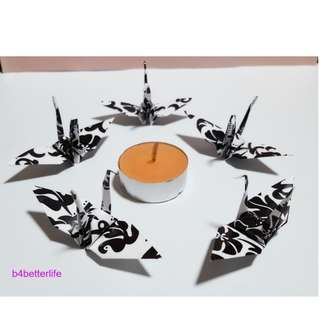 "#FCA-18. Lot of 80pcs 3-Inch Black & White Origami Cranes Hand-folded From 3"" x 3"" Square Paper. (WR paper series)."