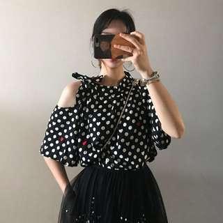 Minimei追加款✪韓系韓版百搭休閒 點點控波點愛心露肩蝴蝶結系帶短袖襯衫 2色