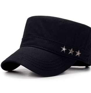 🚚 純棉簡約黑色軍帽