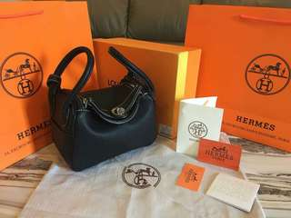 Hermes Lindy Petite Clemence Leather BLACK MIRROR