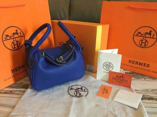 Hermes Lindy Petite Clemence Leather NAVY MIRROR