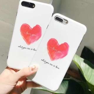 手機殼IPhone6/7/8/plus/X : 簡約水彩愛心全包黑邊光面軟殼