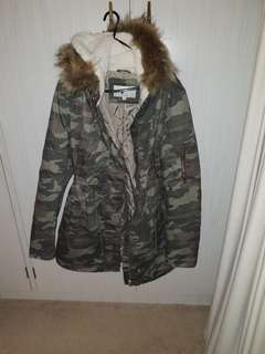Army style jacket with fur hood