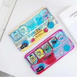 手機殼IPhone6/7/8/plus/X : 芝麻街巴士藍光全包黑邊軟殼