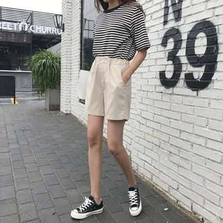 休閒寬鬆棉麻高腰運動短褲