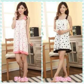 MuiMui Promotion Baju Tidur Cotton Pajamas Cartoon Nightdress Black & Pink M053