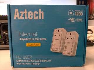 Aztech HL129EP 1200Mbps Homeplug 一對