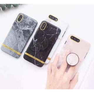 手機殼IPhone6/7/8/plus/X : 原創金邊大理石配氣囊支架全包黑邊軟殼