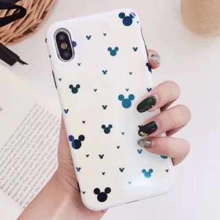 手機殼IPhone6/7/8/plus/X : 可愛米奇頭集合藍光全包黑邊軟殼