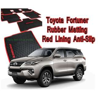 Fortuner 2016 to 2018 Premium Rubber Floor Matting Anti-Slip (Red Lining) 6pcs