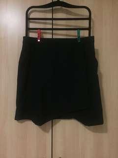 Black A-line Wrap Skirt