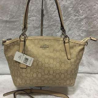 Coach Signature Bag Kelsey Satchel Canvas 2 in 1 Crossbody Medium Size Bag Handbag Shoulder Bag With Serial Number Women's Bag