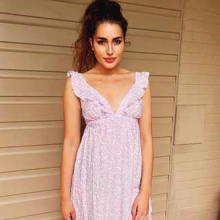 Lilac Ruffle Maxi Dress