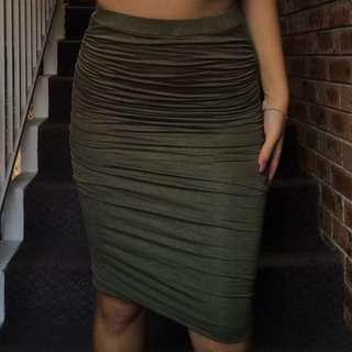 khaki/olive green ruched midi skirt