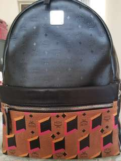 MCM signature medium Backpack with leather trim