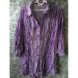 plus size purple stripes polo
