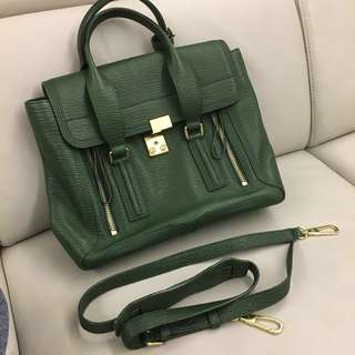 🚚 3.1 phillip lim satchel medium Philip lim 中款綠色手拿包肩背包牛皮包真皮包 上班公事